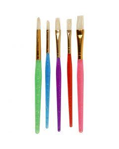 Pennelli per bambini, misura 8+12+18 , colori asst., 5 pz/ 1 conf.