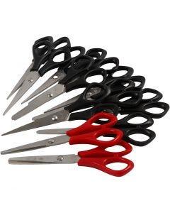 Forbici per la scuola, L: 14 cm, destrimani & mancini, nero, rosso, 12 pz/ 1 conf.