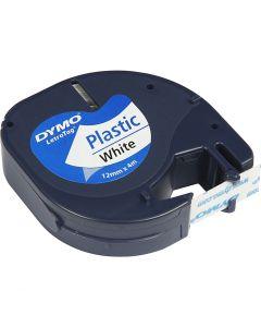 Nastro di plastica Dymo, L: 4 m, L: 12 mm, bianco, 4 m/ 1 rot.