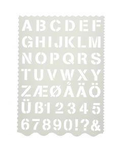 Maschera con lettere e numeri, lettere e numeri, H: 25 mm, 21x29 cm, 1 pz