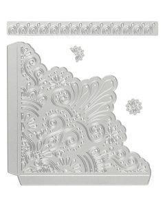 Mascherina per embossing e fustella, angoli decorativi, misura 14,5x1,5 cm, 1 pz