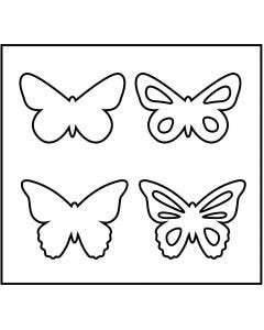 Fustella in acciaio, farfalle, misura 14x15,25 cm, spess. 15 mm, 1 pz