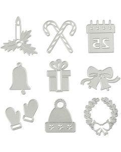 Mascherina per embossing e fustella, motivi natalizi, diam: 2-6,5 cm, 1 pz