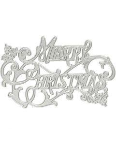Mascherina per embossing e fustella, Merry Christmas, diam: 11,5x7,2 cm, 1 pz