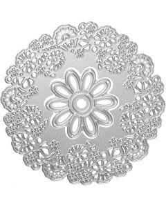 Mascherina per embossing e fustella, fantasia floreale, diam: 10,5 cm, 1 pz