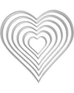 Mascherina per embossing e fustella, cuore, misura 2,5x3-10x11 cm, 1 pz