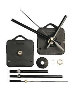 Meccanismo per orologio, spessore piastra massimo 6 mm, nero, 1 set
