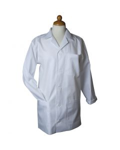 Grembiule da laboratorio, L: 81 cm, misura medium , Lunghezza maniche: 59 cm, bianco, 1 pz