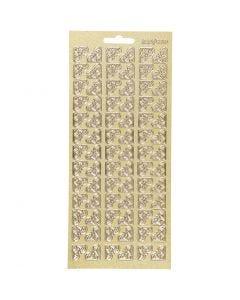 Stickers, angoli, 10x23 cm, oro, 1 fgl.