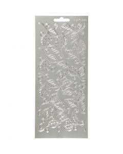 Stickers, foglie, 10x23 cm, argento, 1 fgl.