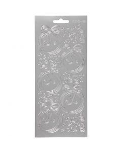 Stickers, sfere di Natale, 10x23 cm, argento, 1 fgl.