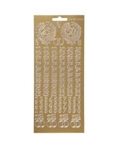 Stickers, numeri anniversario, 10x23 cm, oro, 1 fgl.