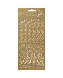 Stickers, numeri, 10x23 cm, oro, 1 fgl.