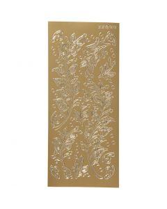 Stickers, foglie, 10x23 cm, oro, 1 fgl.