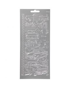 Stickers, auto, 10x23 cm, argento, 1 fgl.