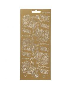 Stickers, rose, 10x23 cm, oro, 1 fgl.