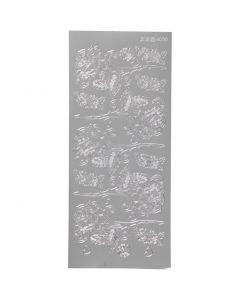 Stickers, rose, 10x23 cm, argento, 1 fgl.