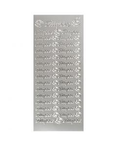 Stickers, tillykke, 10x23 cm, argento, 1 fgl.