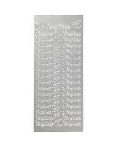 Stickers, bryllup, 10x23 cm, argento, 1 fgl.