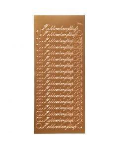 Stickers, kobberbryllup, 10x23 cm, rame, 1 fgl.