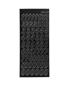 Stickers, numeri grandi, 10x23 cm, nero, 1 fgl.