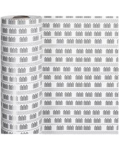 Confezione regalo, cabine, L: 57 cm, 80 g, nero, bianco, 150 m/ 1 rot.