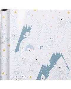 Confezione regalo, Natale polare, L: 70 cm, 80 g, 4 m/ 1 rot.