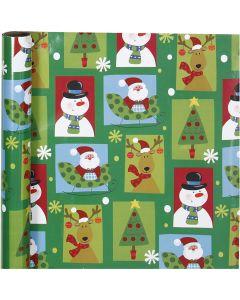 Confezione regalo, riquadri natalizi, L: 70 cm, 80 g, 4 m/ 1 rot.
