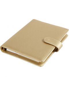 Agenda, misura 19x23,5x4 cm, cartelletta ad anelli, oro, 1 pz