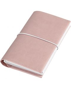 Agenda, misura 10x18x1,5 cm, chiusura con elastico, rosato, 1 pz
