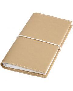 Agenda, misura 10x18x1,5 cm, chiusura con elastico, oro, 1 pz