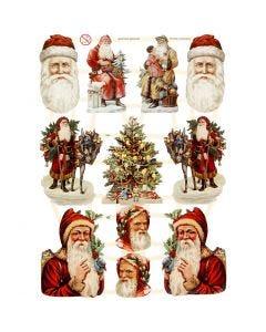 Figure fustellate vintage, Natale, 16,5x23,5 cm, 3 fgl./ 1 conf.