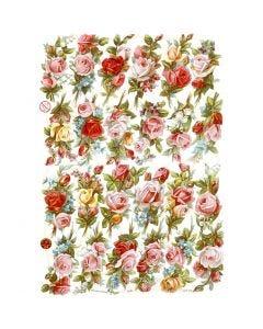 Figure fustellate vintage, bouquet di rose, 16,5x23,5 cm, 3 fgl./ 1 conf.
