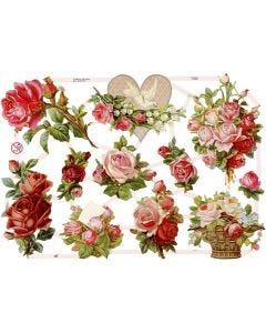 Figure fustellate vintage, rose, 16,5x23,5 cm, 3 fgl./ 1 conf.