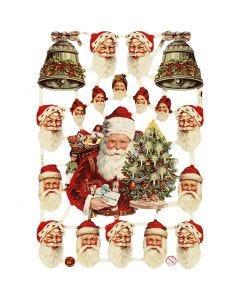 Figure fustellate vintage, Babbo Natale e campane, 16,5x23,5 cm, 3 fgl./ 1 conf.