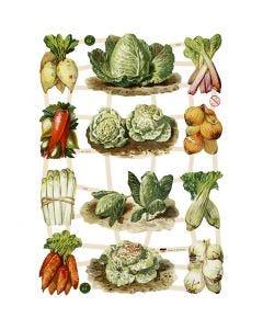Figure fustellate vintage, vegetali, 16,5x23,5 cm, 3 fgl./ 1 conf.