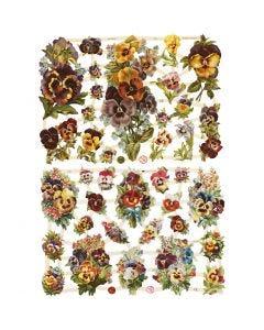 Figure fustellate vintage, viola del pensiero, 16,5x23,5 cm, 2 fgl./ 1 conf.