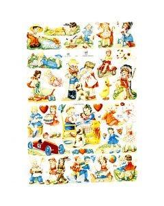 Figure fustellate vintage, Bambini, 16,5x23,5 cm, 2 fgl./ 1 conf.
