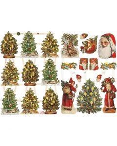 Figure fustellate vintage, Babbo e Alberi di Natale, 16,5x23,5 cm, 2 fgl./ 1 conf.