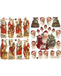 Figure fustellate vintage, Babbo Natale con regali, 16,5x23,5 cm, 2 fgl./ 1 conf.