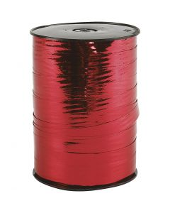Nastro arricciabile, L: 10 mm, brillante, rosso metallico, 250 m/ 1 rot.