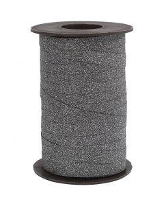 Nastro arricciabile, L: 10 mm, glitter, nero, 100 m/ 1 rot.