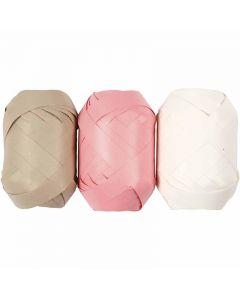 Nastro arricciabile, L: 10 mm, beige, rosso chiaro, bianco, 3x10 m/ 1 conf.