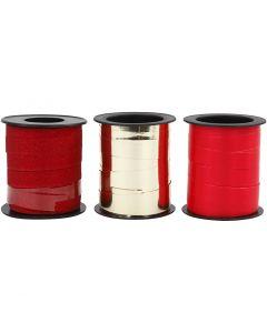 Nastro arricciabile, oro, rosso, rosso glitter, 3x15 m/ 1 conf.