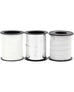 Nastro arricciabile, argento, argento glitter, bianco, 3x15 m/ 1 conf.