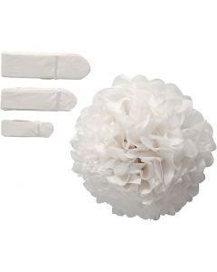 Pom-poms in carta velina, diam: 20+24+30 cm, 16 g, bianco, 3 pz/ 1 conf.