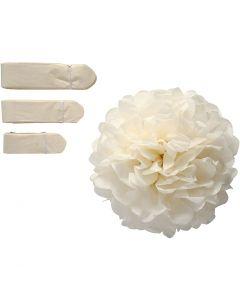 Pom-poms in carta velina, diam: 20+24+30 cm, 16 g, avorio, 3 pz/ 1 conf.