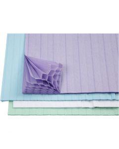 Carta a nido d'ape, 28x17,8 cm, azzurro, verde, viola, bianco, 4x2 fgl./ 1 conf.