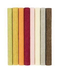 Carta crespa, 25x60 cm, Proporzione: 180%, 105 g, colori tenui, 8 fgl./ 1 conf.