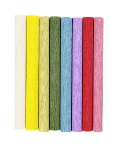 Carta crespa, 25x60 cm, Proporzione: 180%, 105 g, colori standard, 8 fgl./ 1 conf.